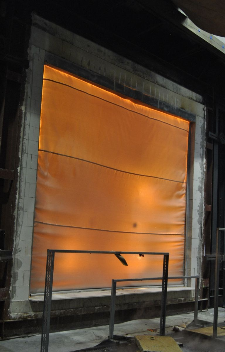 Fire curtain test